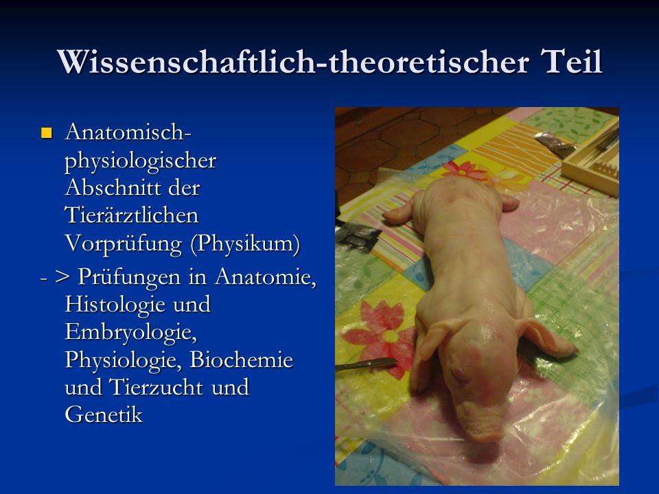Wissenschaftlich-theoretischer Teil Anatomisch- physiologischer Abschnitt der Tierärztlichen Vorprüfung (Physikum) Anatomisch- physiologischer Abschni