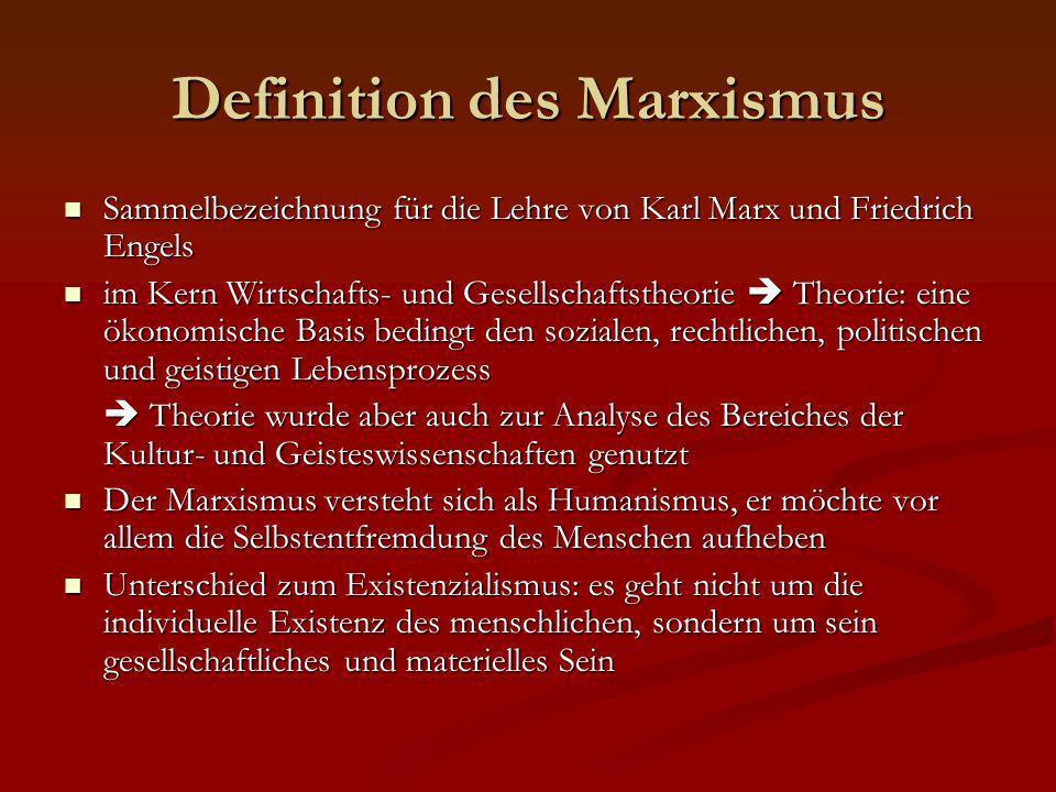 Definition des Marxismus Sammelbezeichnung für die Lehre von Karl Marx und Friedrich Engels Sammelbezeichnung für die Lehre von Karl Marx und Friedric