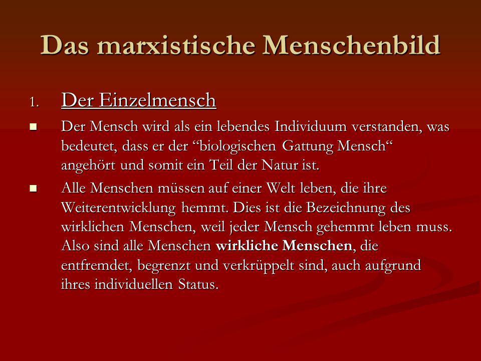 Das marxistische Menschenbild 1. Der Einzelmensch Der Mensch wird als ein lebendes Individuum verstanden, was bedeutet, dass er der biologischen Gattu