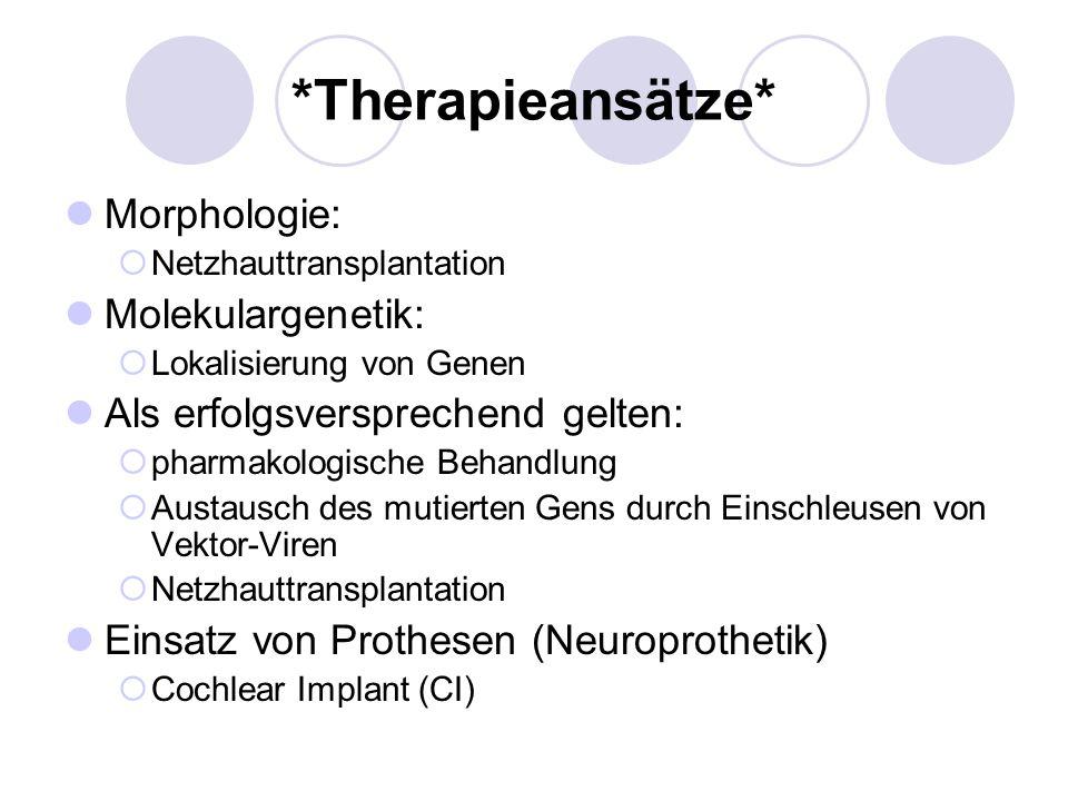 *Therapieansätze* Morphologie: Netzhauttransplantation Molekulargenetik: Lokalisierung von Genen Als erfolgsversprechend gelten: pharmakologische Beha