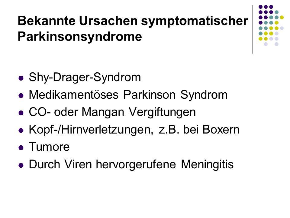 Bekannte Ursachen symptomatischer Parkinsonsyndrome Shy-Drager-Syndrom Medikamentöses Parkinson Syndrom CO- oder Mangan Vergiftungen Kopf-/Hirnverletz