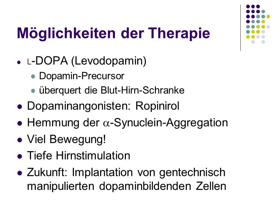 Möglichkeiten der Therapie L -DOPA (Levodopamin) Dopamin-Precursor überquert die Blut-Hirn-Schranke Dopaminangonisten: Ropinirol Hemmung der -Synuclei