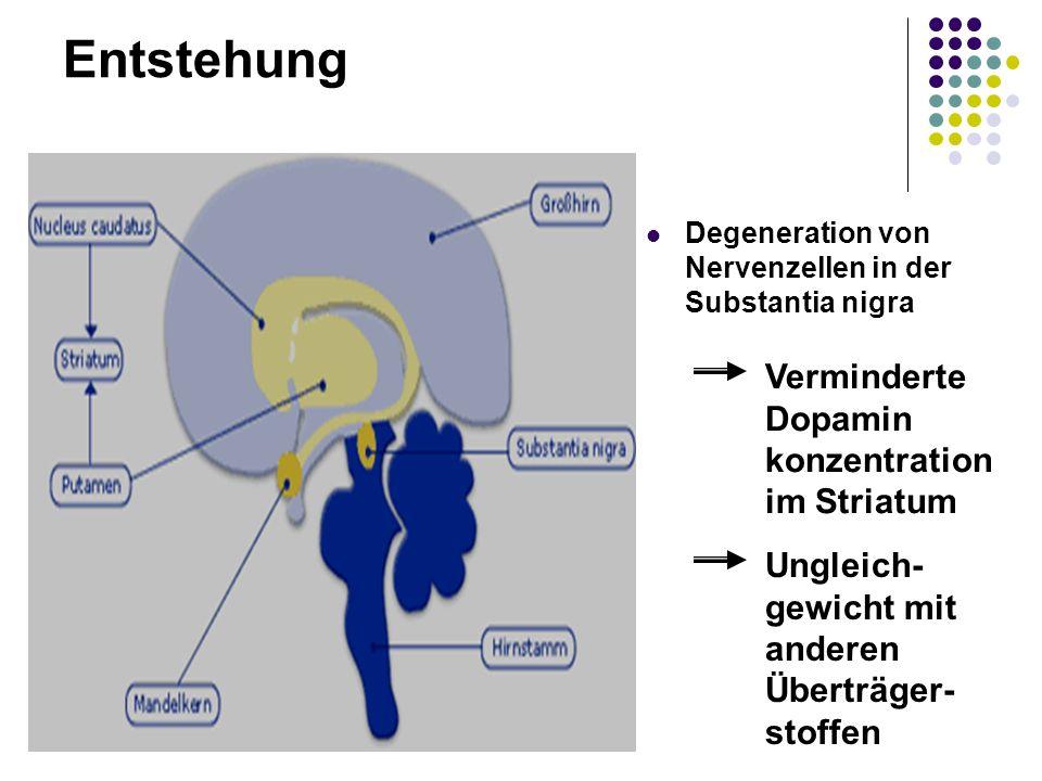 Entstehung Degeneration von Nervenzellen in der Substantia nigra Verminderte Dopamin konzentration im Striatum Ungleich- gewicht mit anderen Überträge