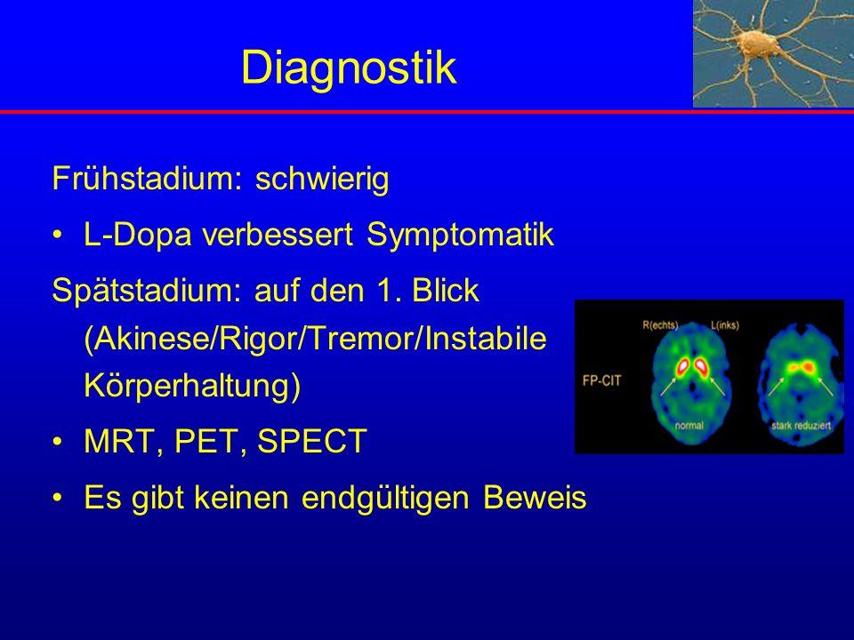 Diagnostik Frühstadium: schwierig L-Dopa verbessert Symptomatik Spätstadium: auf den 1. Blick (Akinese/Rigor/Tremor/Instabile Körperhaltung) MRT, PET,