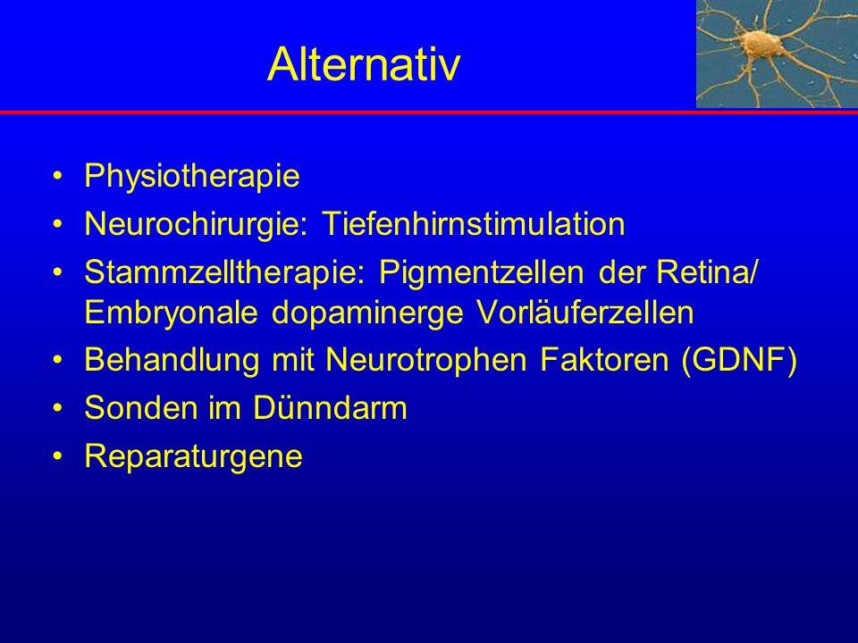 Alternativ Physiotherapie Neurochirurgie: Tiefenhirnstimulation Stammzelltherapie: Pigmentzellen der Retina/ Embryonale dopaminerge Vorläuferzellen Be