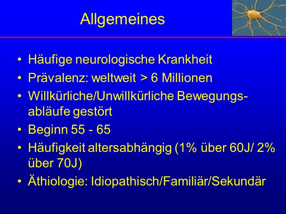 Allgemeines Häufige neurologische Krankheit Prävalenz: weltweit > 6 Millionen Willkürliche/Unwillkürliche Bewegungs- abläufe gestört Beginn 55 - 65 Hä