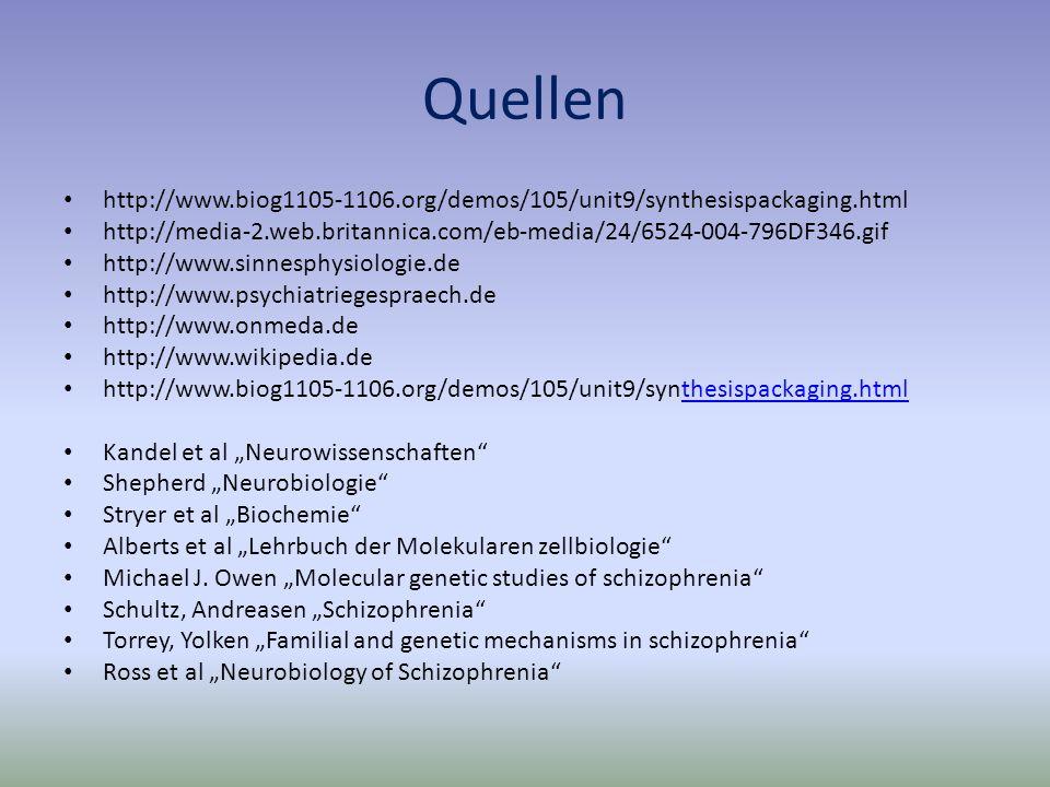 Quellen http://www.biog1105-1106.org/demos/105/unit9/synthesispackaging.html http://media-2.web.britannica.com/eb-media/24/6524-004-796DF346.gif http://www.sinnesphysiologie.de http://www.psychiatriegespraech.de http://www.onmeda.de http://www.wikipedia.de http://www.biog1105-1106.org/demos/105/unit9/synthesispackaging.htmlthesispackaging.html Kandel et al Neurowissenschaften Shepherd Neurobiologie Stryer et al Biochemie Alberts et al Lehrbuch der Molekularen zellbiologie Michael J.