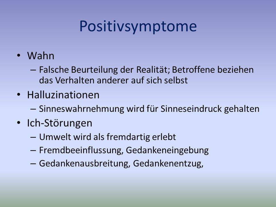 Positivsymptome Wahn – Falsche Beurteilung der Realität; Betroffene beziehen das Verhalten anderer auf sich selbst Halluzinationen – Sinneswahrnehmung wird für Sinneseindruck gehalten Ich-Störungen – Umwelt wird als fremdartig erlebt – Fremdbeeinflussung, Gedankeneingebung – Gedankenausbreitung, Gedankenentzug,