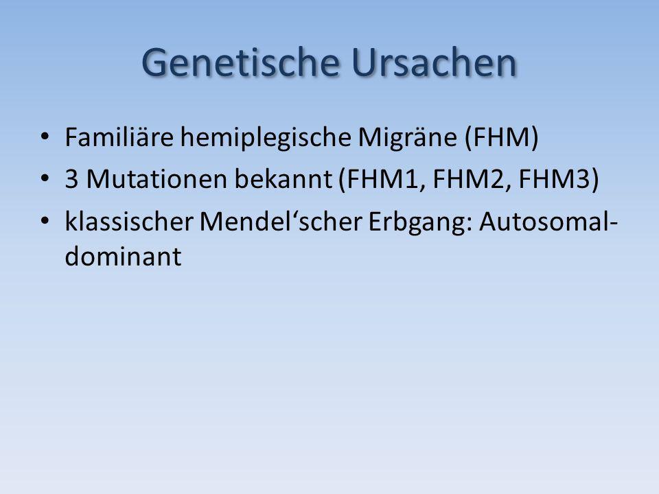 Genetische Ursachen Familiäre hemiplegische Migräne (FHM) 3 Mutationen bekannt (FHM1, FHM2, FHM3) klassischer Mendelscher Erbgang: Autosomal- dominant