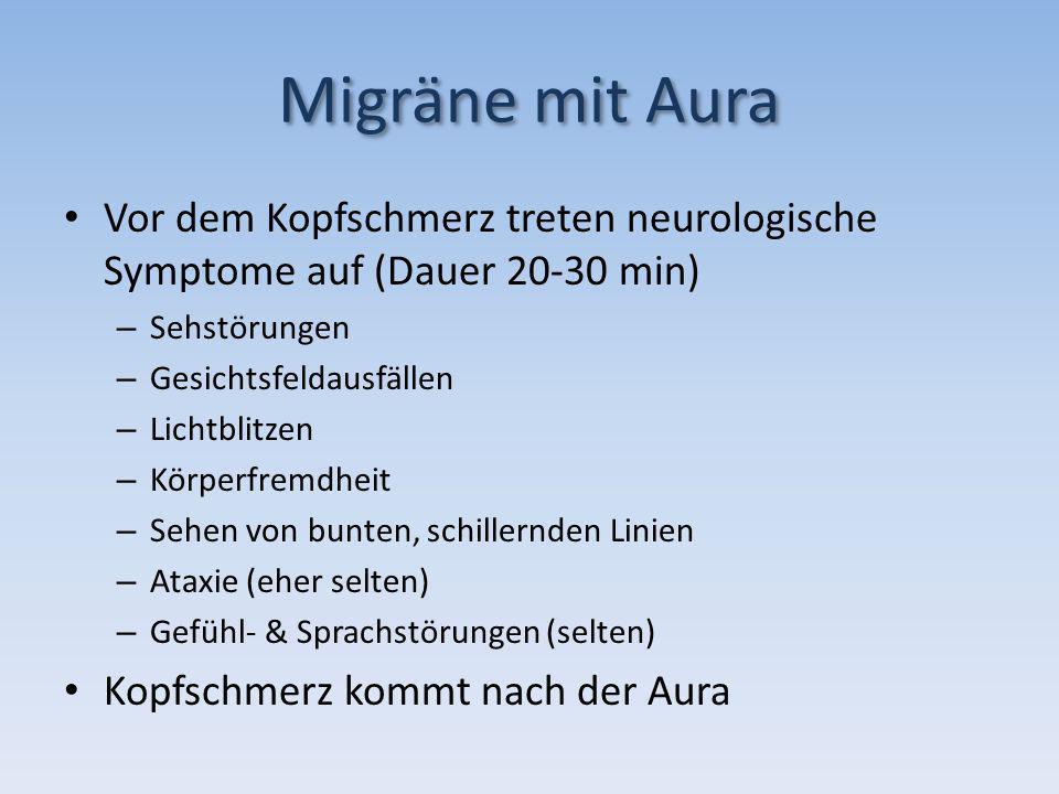 Migräne mit Aura Vor dem Kopfschmerz treten neurologische Symptome auf (Dauer 20-30 min) – Sehstörungen – Gesichtsfeldausfällen – Lichtblitzen – Körpe