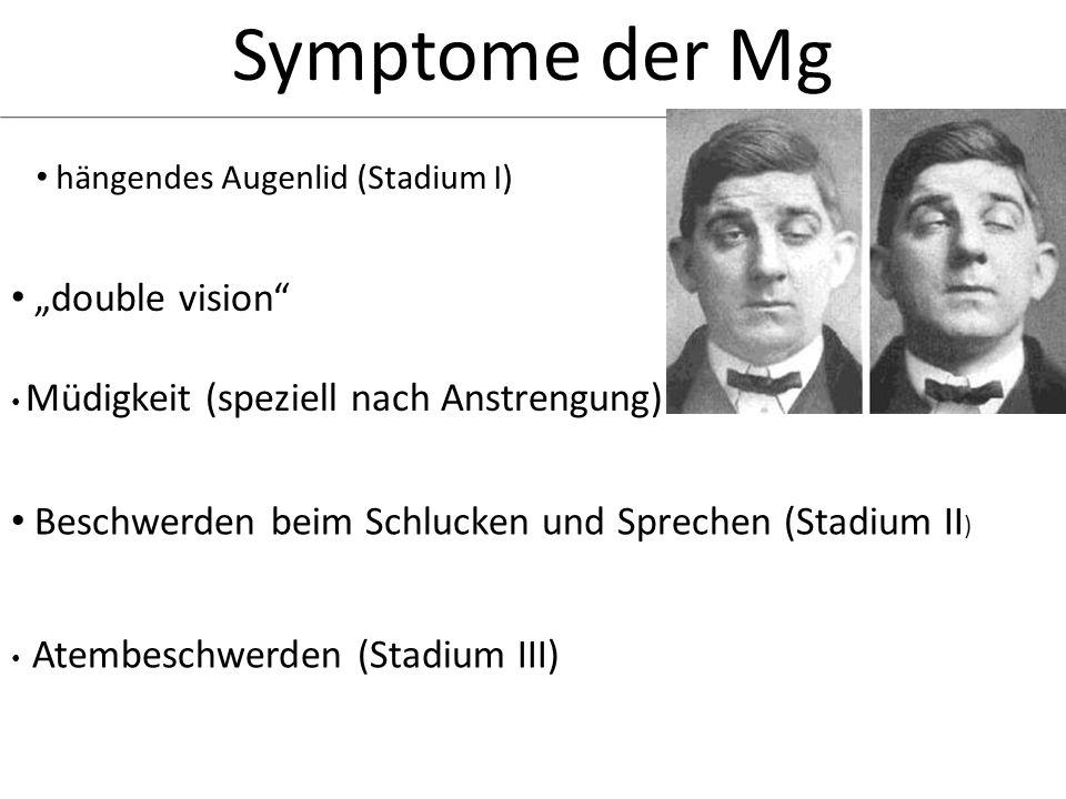 Symptome der Mg hängendes Augenlid (Stadium I) double vision Müdigkeit (speziell nach Anstrengung) Beschwerden beim Schlucken und Sprechen (Stadium II