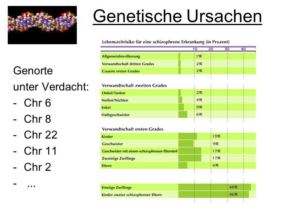 Genetische Ursachen Genorte unter Verdacht: -Chr 6 -Chr 8 -Chr 22 -Chr 11 -Chr 2 -...
