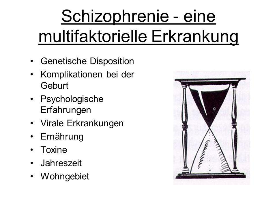 Schizophrenie - eine multifaktorielle Erkrankung Genetische Disposition Komplikationen bei der Geburt Psychologische Erfahrungen Virale Erkrankungen E