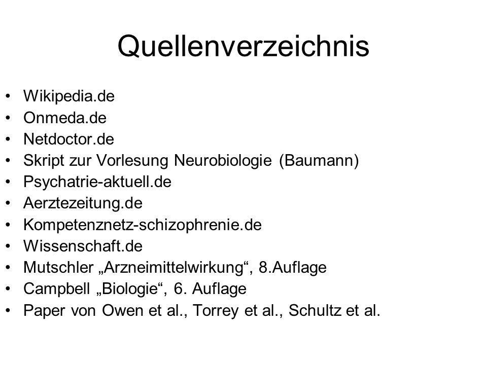 Quellenverzeichnis Wikipedia.de Onmeda.de Netdoctor.de Skript zur Vorlesung Neurobiologie (Baumann) Psychatrie-aktuell.de Aerztezeitung.de Kompetenzne