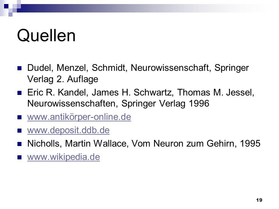 19 Quellen Dudel, Menzel, Schmidt, Neurowissenschaft, Springer Verlag 2. Auflage Eric R. Kandel, James H. Schwartz, Thomas M. Jessel, Neurowissenschaf