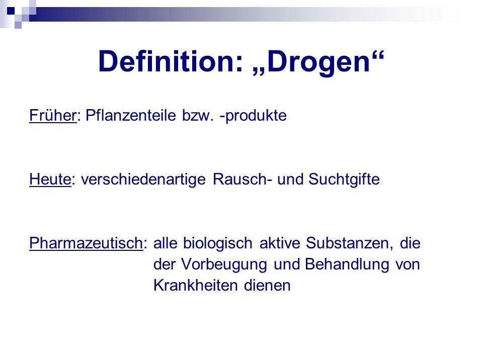 Definition: Drogen Früher: Pflanzenteile bzw. -produkte Heute: verschiedenartige Rausch- und Suchtgifte Pharmazeutisch: alle biologisch aktive Substan