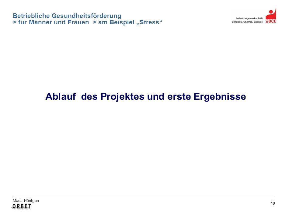 Maria Büntgen 10 Betriebliche Gesundheitsförderung > für Männer und Frauen > am Beispiel Stress Ablauf des Projektes und erste Ergebnisse