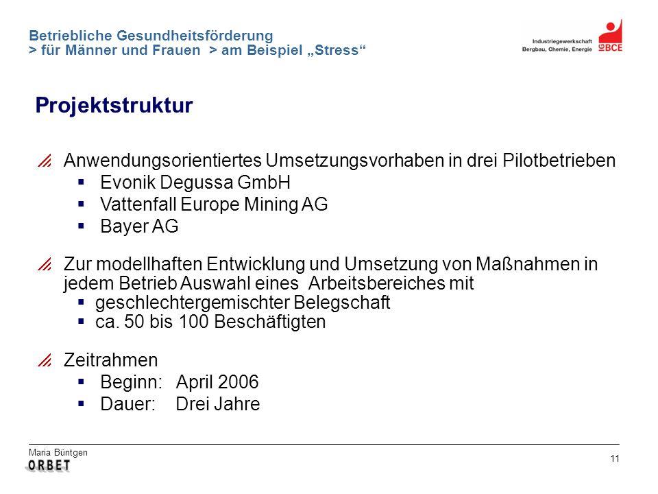 Maria Büntgen 11 Betriebliche Gesundheitsförderung > für Männer und Frauen > am Beispiel Stress Projektstruktur Anwendungsorientiertes Umsetzungsvorha