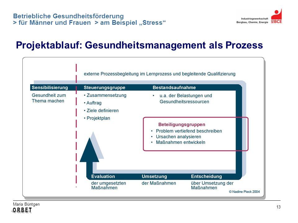 Maria Büntgen 13 Betriebliche Gesundheitsförderung > für Männer und Frauen > am Beispiel Stress Projektablauf: Gesundheitsmanagement als Prozess
