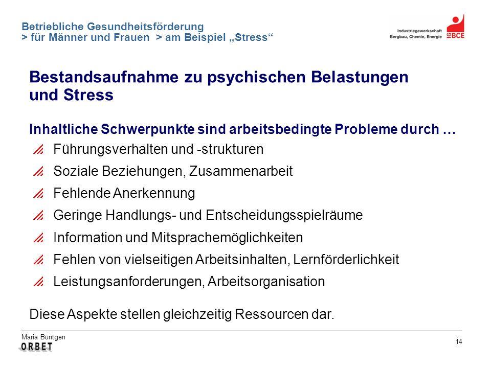 Maria Büntgen 14 Betriebliche Gesundheitsförderung > für Männer und Frauen > am Beispiel Stress Bestandsaufnahme zu psychischen Belastungen und Stress