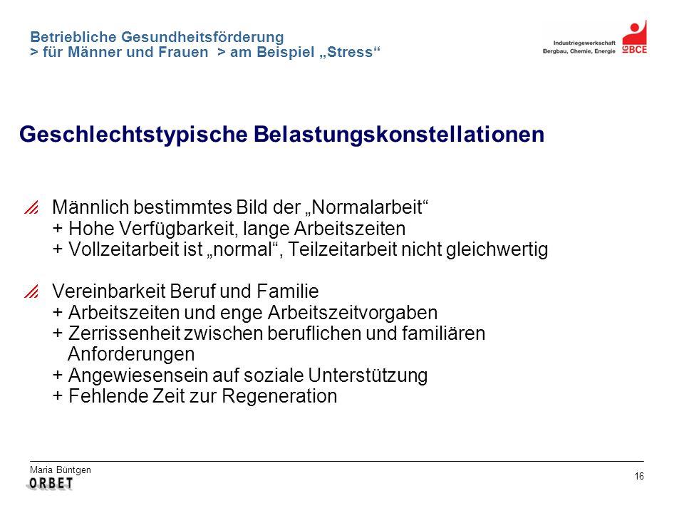 Maria Büntgen 16 Betriebliche Gesundheitsförderung > für Männer und Frauen > am Beispiel Stress Geschlechtstypische Belastungskonstellationen Männlich