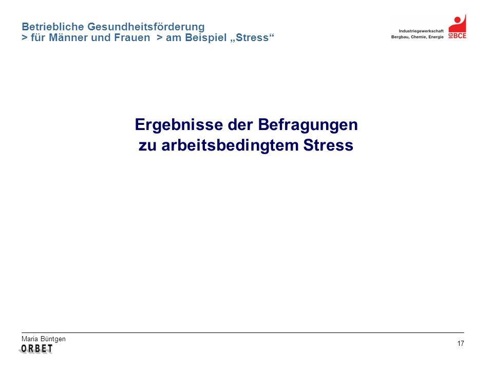 Maria Büntgen 17 Betriebliche Gesundheitsförderung > für Männer und Frauen > am Beispiel Stress Ergebnisse der Befragungen zu arbeitsbedingtem Stress