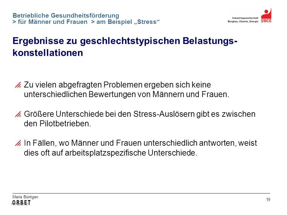 Maria Büntgen 19 Betriebliche Gesundheitsförderung > für Männer und Frauen > am Beispiel Stress Ergebnisse zu geschlechtstypischen Belastungs- konstel