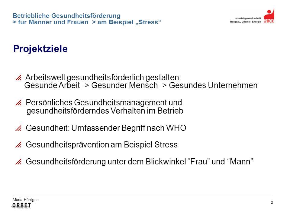 Maria Büntgen 2 Betriebliche Gesundheitsförderung > für Männer und Frauen > am Beispiel Stress Projektziele Arbeitswelt gesundheitsförderlich gestalte