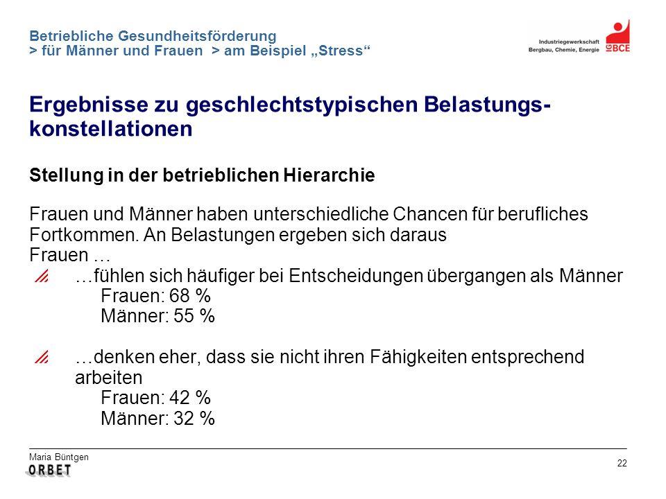 Maria Büntgen 22 Betriebliche Gesundheitsförderung > für Männer und Frauen > am Beispiel Stress Ergebnisse zu geschlechtstypischen Belastungs- konstel