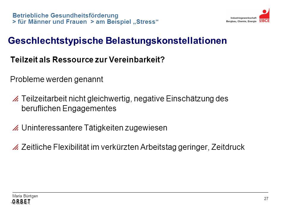 Maria Büntgen 27 Betriebliche Gesundheitsförderung > für Männer und Frauen > am Beispiel Stress Teilzeit als Ressource zur Vereinbarkeit? Probleme wer