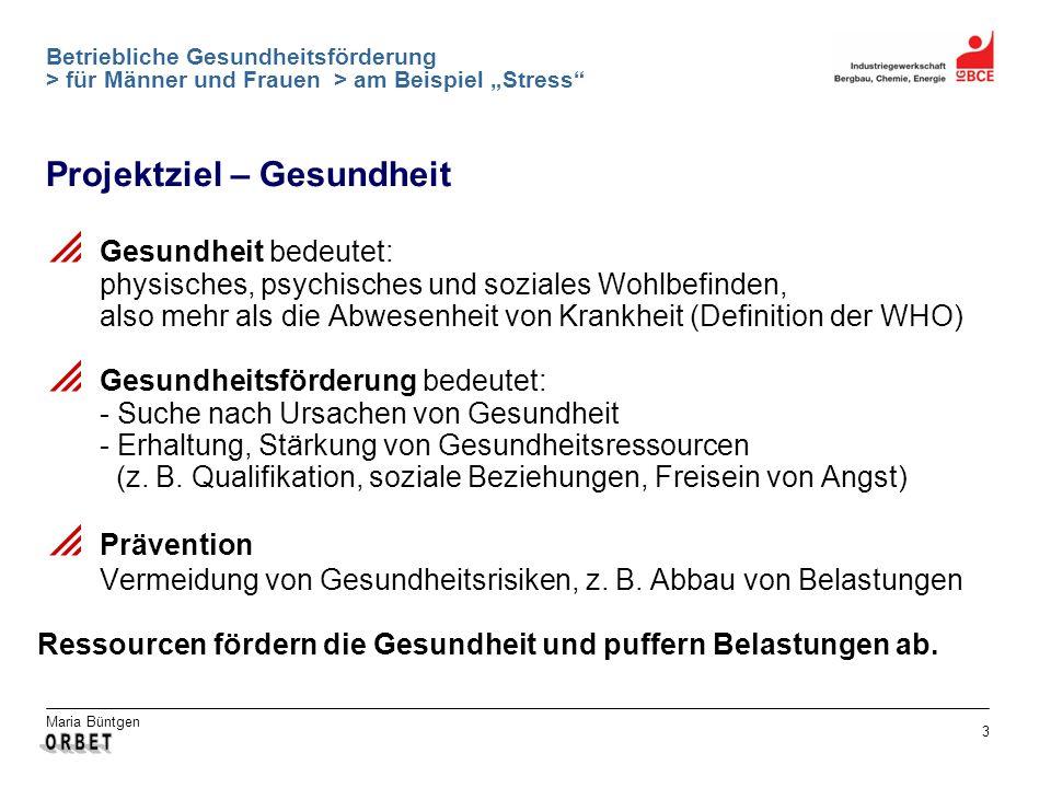 Maria Büntgen 3 Betriebliche Gesundheitsförderung > für Männer und Frauen > am Beispiel Stress Projektziel – Gesundheit Gesundheit bedeutet: physische