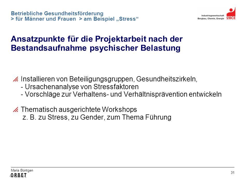 Maria Büntgen 31 Betriebliche Gesundheitsförderung > für Männer und Frauen > am Beispiel Stress Ansatzpunkte für die Projektarbeit nach der Bestandsau