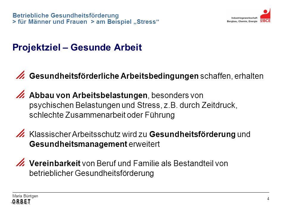 Maria Büntgen 4 Betriebliche Gesundheitsförderung > für Männer und Frauen > am Beispiel Stress Projektziel – Gesunde Arbeit Gesundheitsförderliche Arb