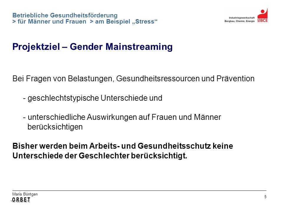 Maria Büntgen 5 Betriebliche Gesundheitsförderung > für Männer und Frauen > am Beispiel Stress Bei Fragen von Belastungen, Gesundheitsressourcen und P