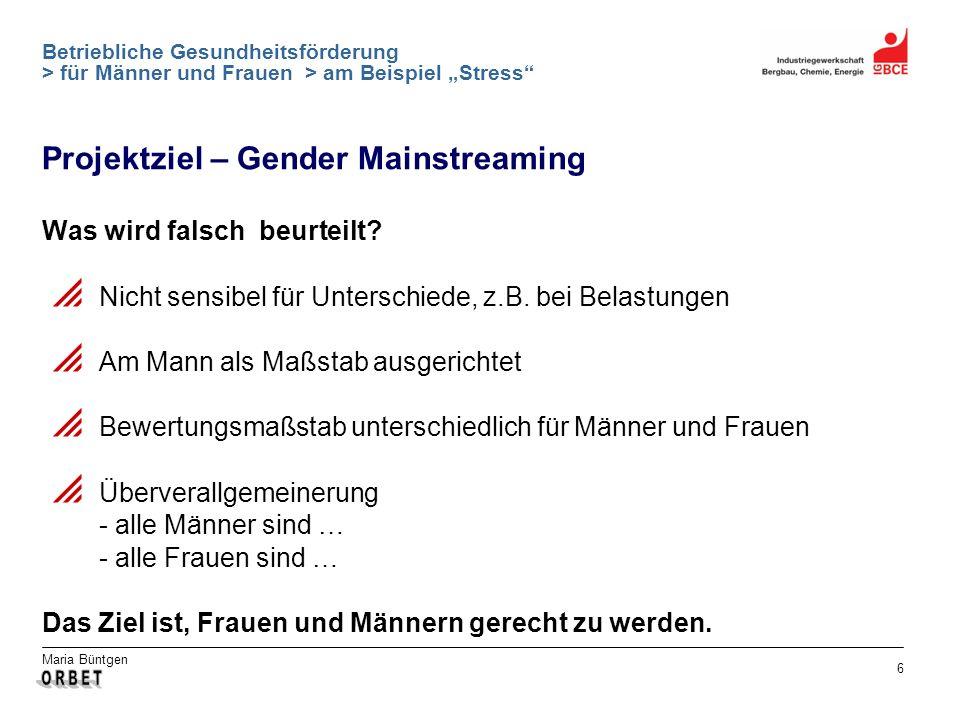 Maria Büntgen 6 Betriebliche Gesundheitsförderung > für Männer und Frauen > am Beispiel Stress Was wird falsch beurteilt? Nicht sensibel für Unterschi