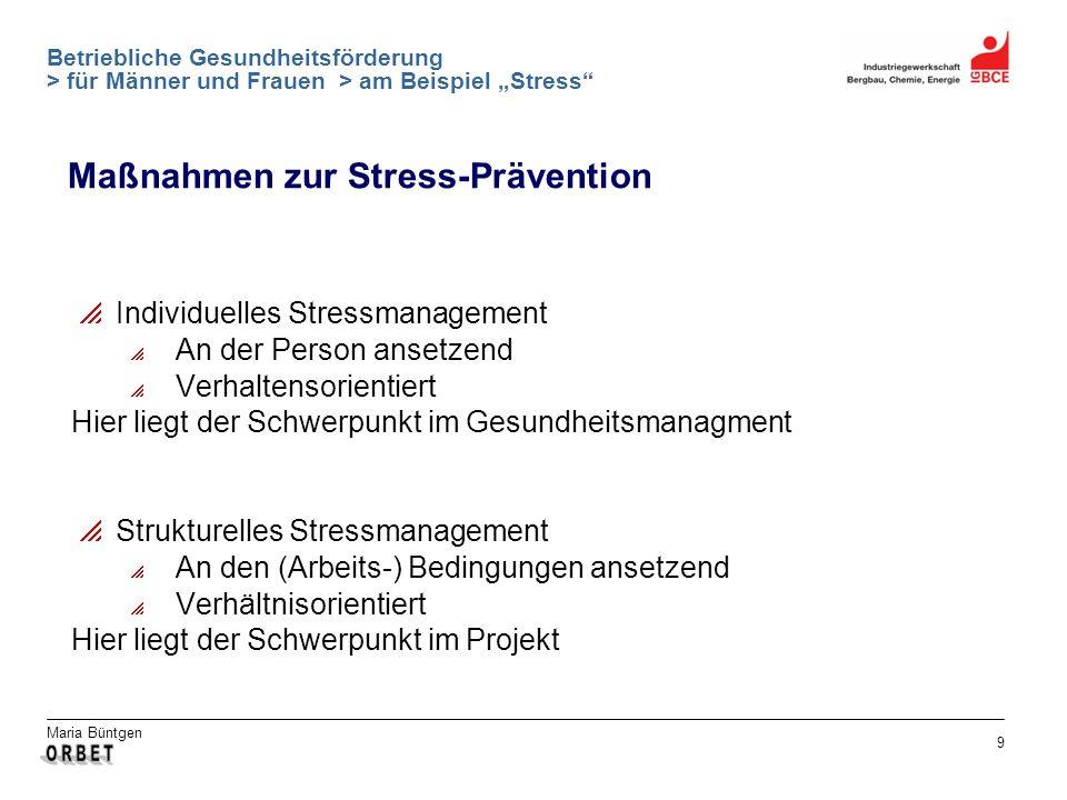 Maria Büntgen 9 Betriebliche Gesundheitsförderung > für Männer und Frauen > am Beispiel Stress Maßnahmen zur Stress-Prävention Individuelles Stressman