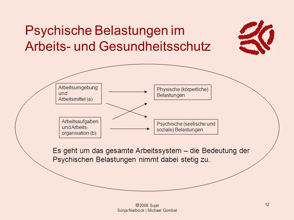 ã 2008 Sujet Sonja Nielbock | Michael Gümbel 12 Psychische Belastungen im Arbeits- und Gesundheitsschutz Arbeitsumgebung und Arbeitsmittel (a) Arbeits