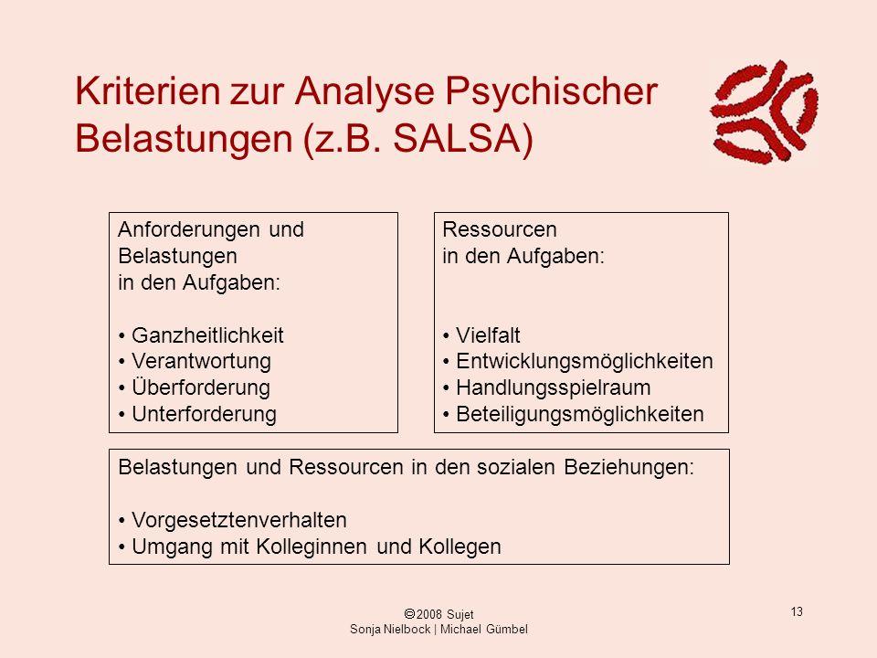 ã 2008 Sujet Sonja Nielbock | Michael Gümbel 13 Kriterien zur Analyse Psychischer Belastungen (z.B. SALSA) Anforderungen und Belastungen in den Aufgab