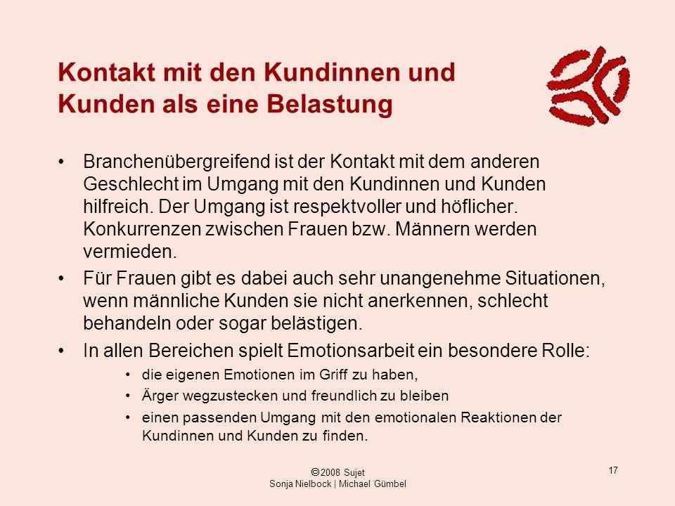 ã 2008 Sujet Sonja Nielbock | Michael Gümbel 17 Kontakt mit den Kundinnen und Kunden als eine Belastung Branchenübergreifend ist der Kontakt mit dem a