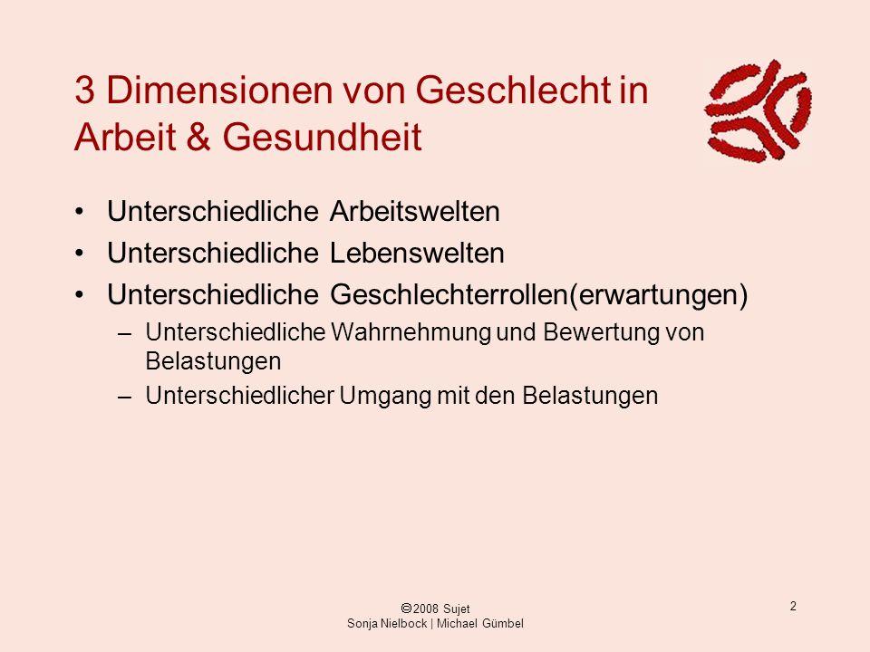 ã 2008 Sujet Sonja Nielbock | Michael Gümbel 2 3 Dimensionen von Geschlecht in Arbeit & Gesundheit Unterschiedliche Arbeitswelten Unterschiedliche Leb