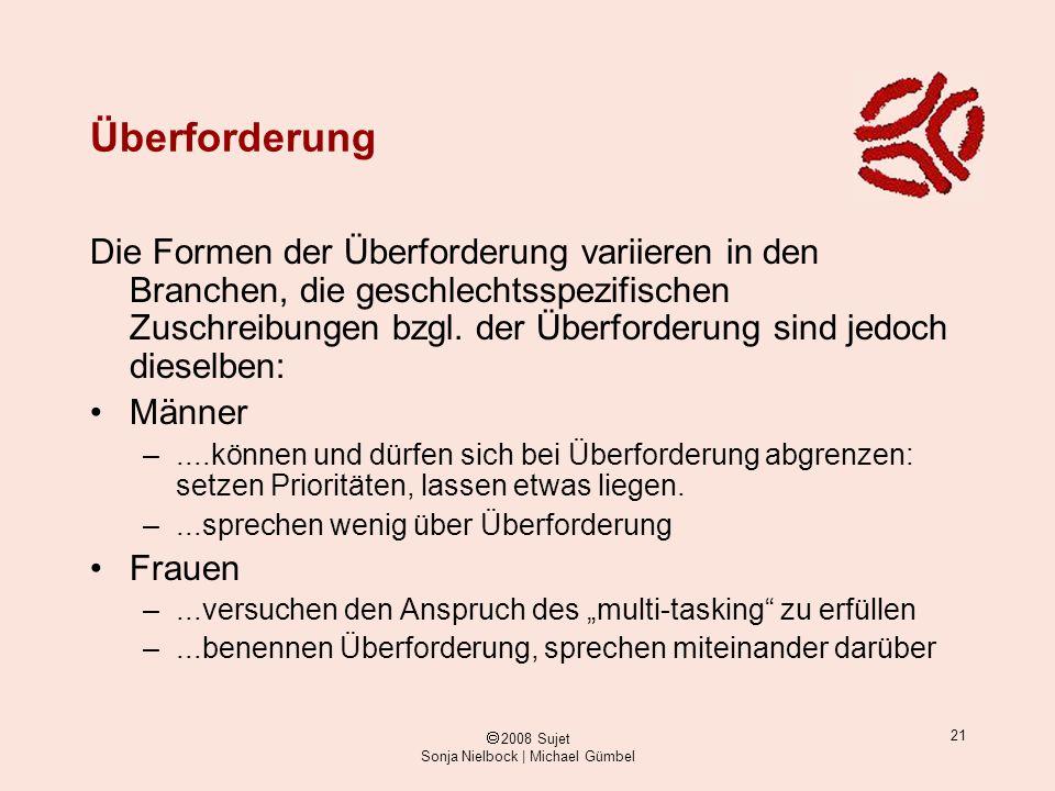 ã 2008 Sujet Sonja Nielbock | Michael Gümbel 21 Überforderung Die Formen der Überforderung variieren in den Branchen, die geschlechtsspezifischen Zusc
