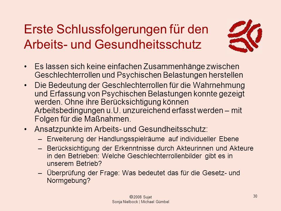 ã 2008 Sujet Sonja Nielbock | Michael Gümbel 30 Erste Schlussfolgerungen für den Arbeits- und Gesundheitsschutz Es lassen sich keine einfachen Zusamme