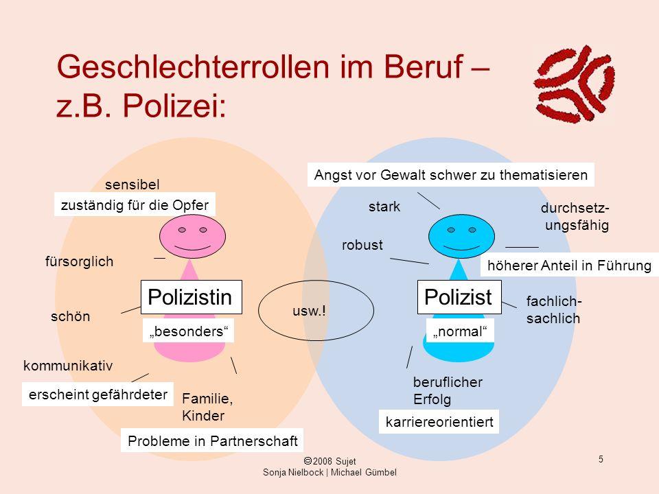 ã 2008 Sujet Sonja Nielbock | Michael Gümbel 5 zuständig für die Opfer höherer Anteil in Führung Geschlechterrollen im Beruf – z.B. Polizei: sensibel