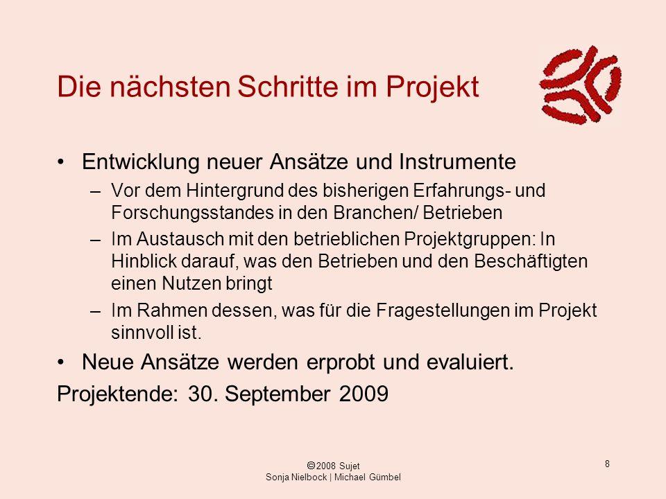 ã 2008 Sujet Sonja Nielbock | Michael Gümbel 8 Die nächsten Schritte im Projekt Entwicklung neuer Ansätze und Instrumente –Vor dem Hintergrund des bis