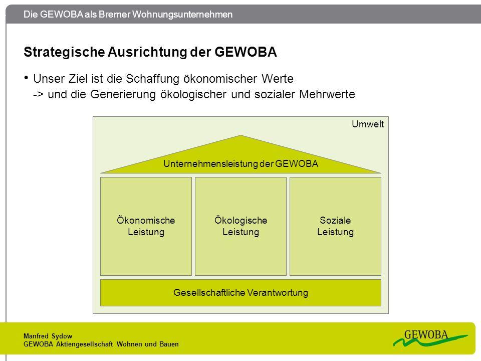 Die GEWOBA als Bremer Wohnungsunternehmen Manfred Sydow GEWOBA Aktiengesellschaft Wohnen und Bauen Strategische Ausrichtung der GEWOBA Unser Ziel ist