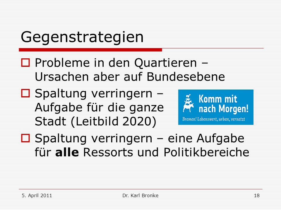 5. April 2011Dr. Karl Bronke18 Gegenstrategien Probleme in den Quartieren – Ursachen aber auf Bundesebene Spaltung verringern – Aufgabe für die ganze