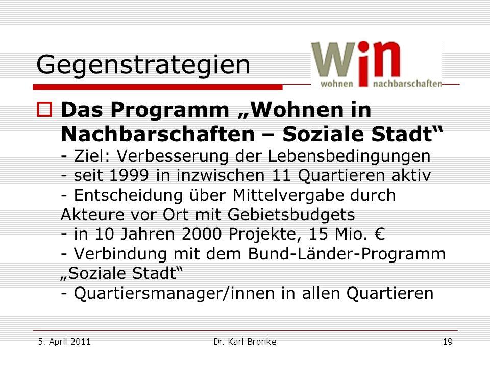 5. April 2011Dr. Karl Bronke19 Gegenstrategien Das Programm Wohnen in Nachbarschaften – Soziale Stadt - Ziel: Verbesserung der Lebensbedingungen - sei