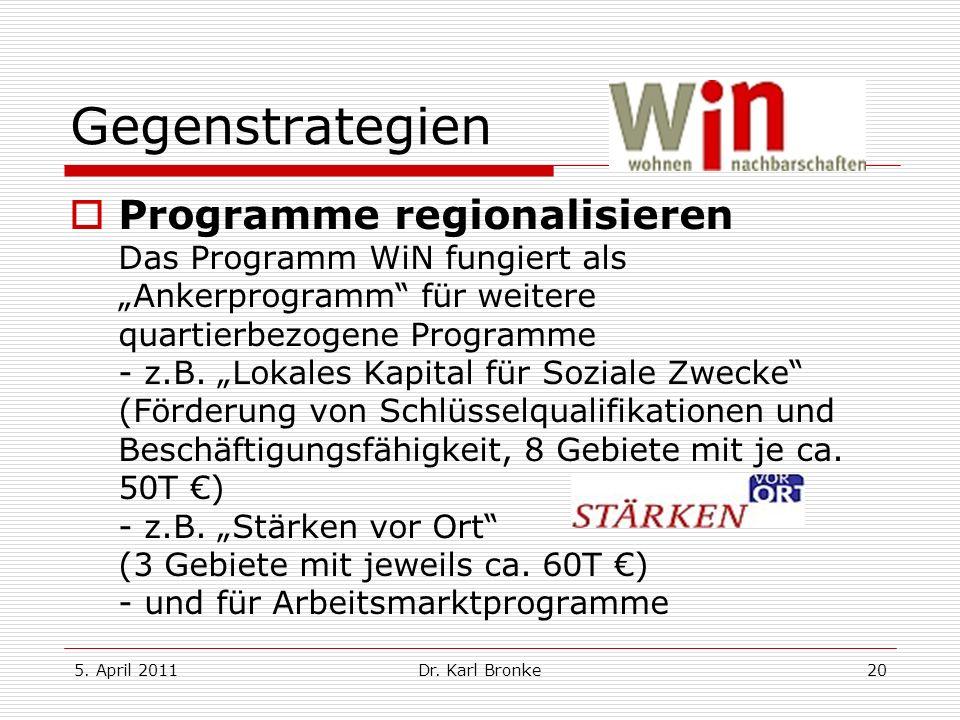 5. April 2011Dr. Karl Bronke20 Gegenstrategien Programme regionalisieren Das Programm WiN fungiert als Ankerprogramm für weitere quartierbezogene Prog