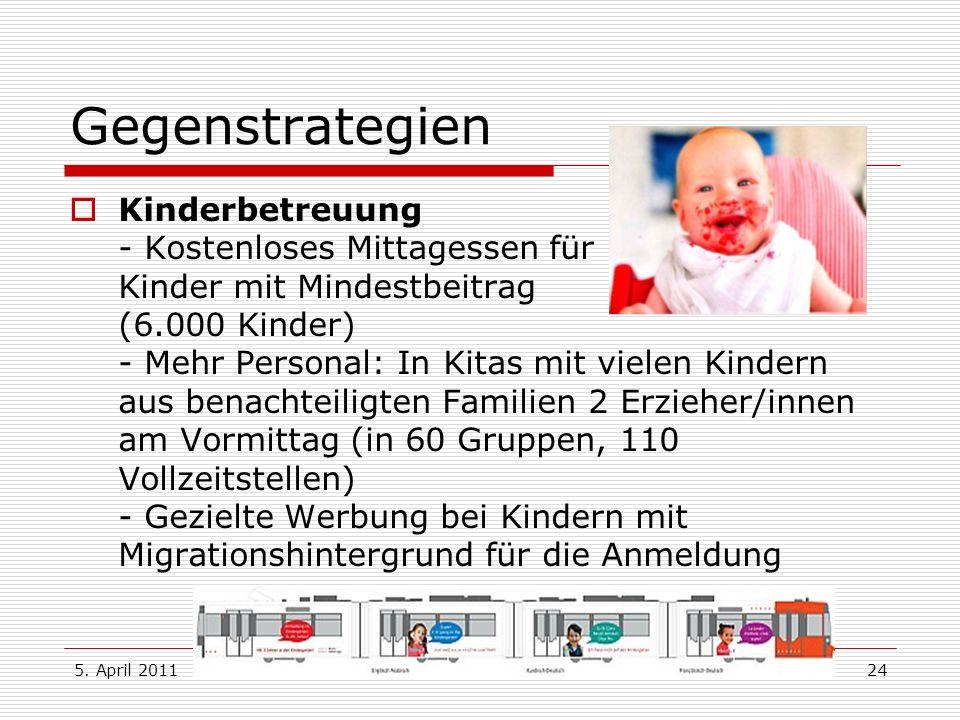 5. April 2011Dr. Karl Bronke24 Gegenstrategien Kinderbetreuung - Kostenloses Mittagessen für Kinder mit Mindestbeitrag (6.000 Kinder) - Mehr Personal: