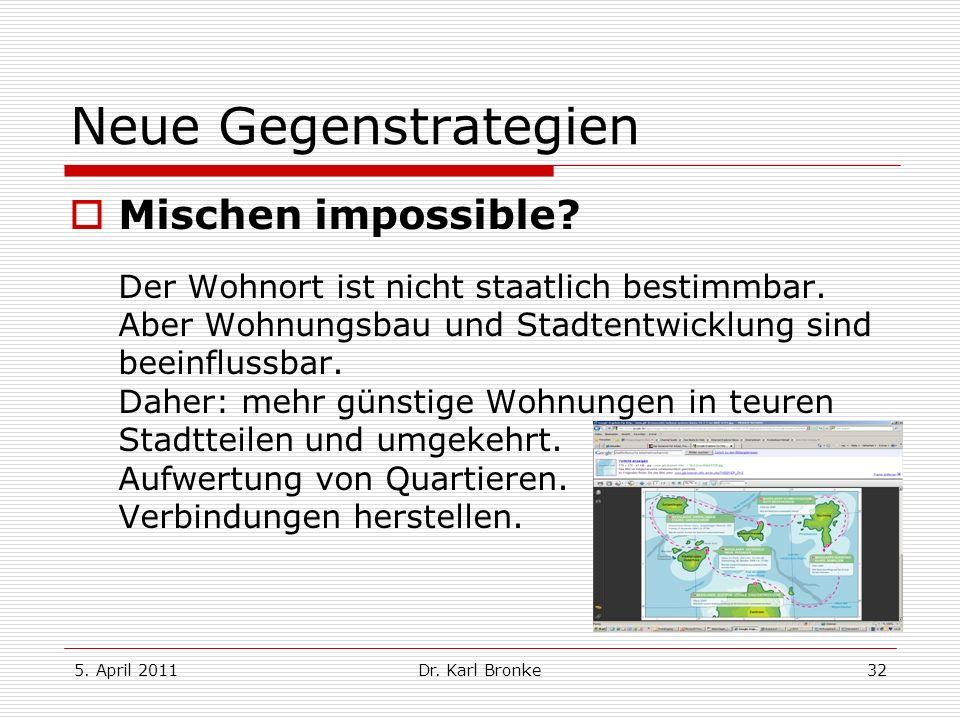 5. April 2011Dr. Karl Bronke32 Neue Gegenstrategien Mischen impossible? Der Wohnort ist nicht staatlich bestimmbar. Aber Wohnungsbau und Stadtentwickl